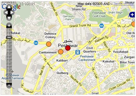 peshawar blast-map